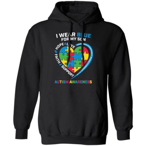 I wear blue for my son love hope faith support autism awareness shirt $19.95 redirect04052021040431 6