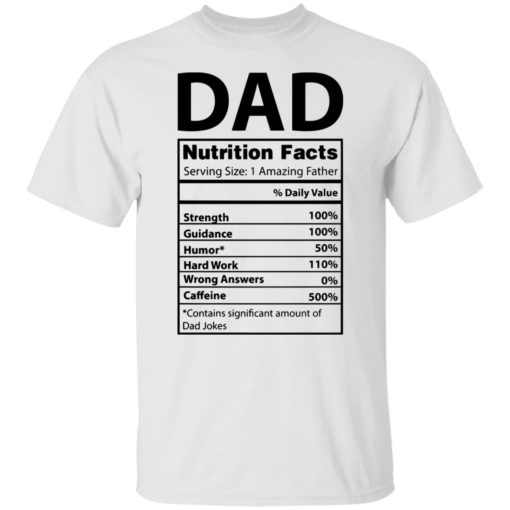 Dad Nutrition facts serving size 1 amazing father shirt $19.95 redirect05212021230537