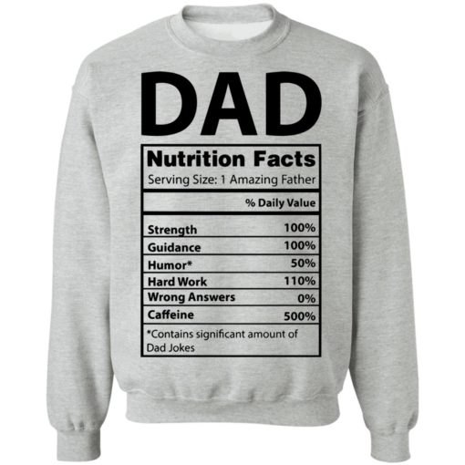 Dad Nutrition facts serving size 1 amazing father shirt $19.95 redirect05212021230537 8