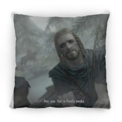 Hey You Youre Finally Awake Skyrim square pillow $26.95 redirect05272021110514 1