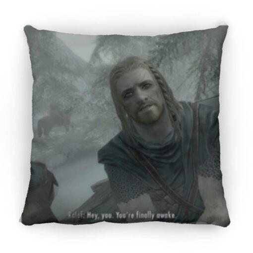 Hey You Youre Finally Awake Skyrim square pillow $26.95 redirect05272021110514 2