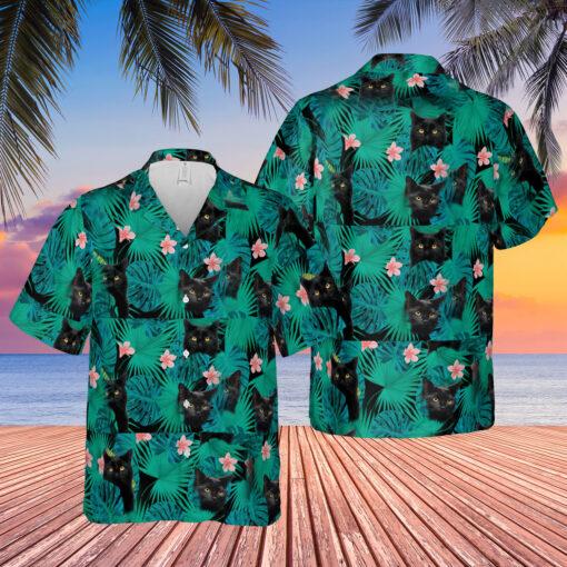 Black cat Hawaiian shirt $31.95 black cat hawaiian shirt mockup