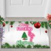 Merry flocking Christmas doormat mockup